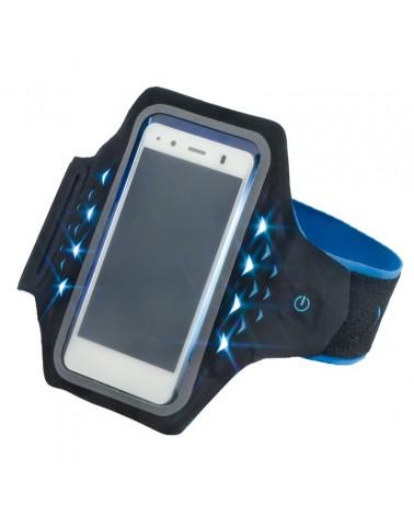 "Brazalete deportivo Hama ""Active"" para smartphones, con LED, talla L, azul"