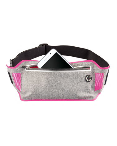 """Riñonera deportiva """"Running"""" de Hama para smartphones, gris con rosado 177793"""