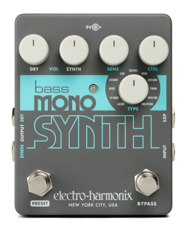 EHX BASS MONO SYNTH Bass Monophonic Synthesizer, 9.6DC-200 PSU included