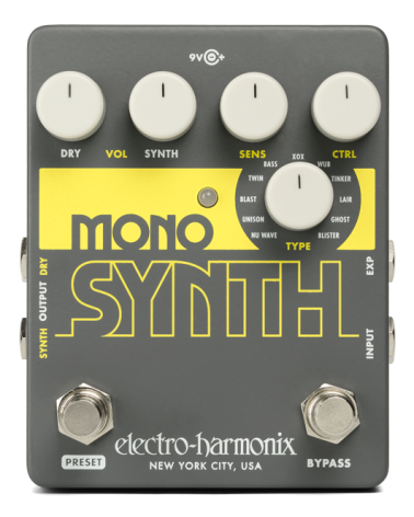 EHX GUITAR  MONO SYNTH GUITAR MONOPHONIC SYNTHESIZER, 9.6DC-200 PSU INCLUDED